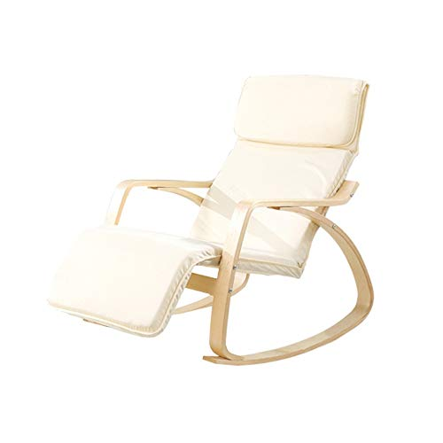 BoeWan Rocking Chair Sleep Chair Durable Relax Rocking Chair Lounge Chair Relax Chair with Soft Cushion & Footrest Outdoor Relax Chair (Color : White, Size : 90x90x67.8cm)