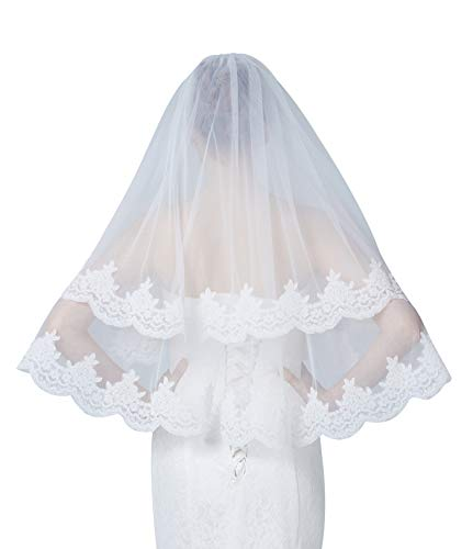 BEAUTELICATE Brautschleier Hochzeitsschleier Schleier Blusher Für Braut Hochzeit Weiß Elfenbein Alencon Spitze Ellenbogenlänge Mit Metall Kamm 2 Schicht V128
