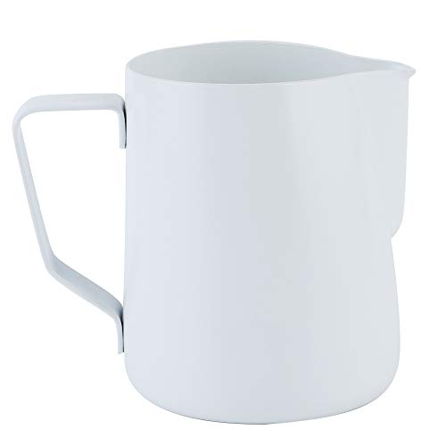 Jarra de espuma de leche de 600 ml, taza de espuma de café de acero inoxidable, accesorios para hacer café con leche y arte(BLANCO)