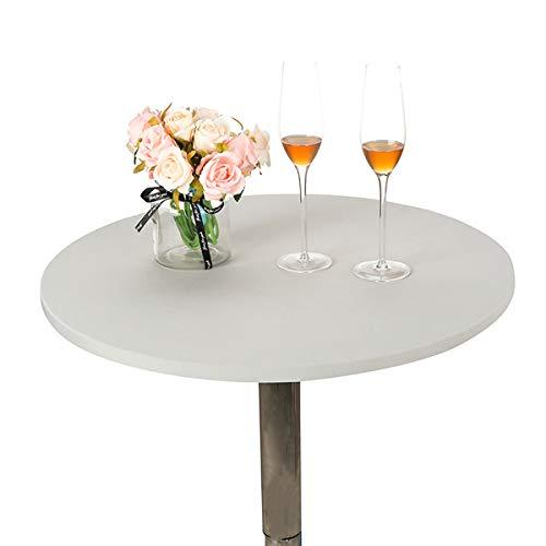 JISEN Cocktail-Tischdecke, Spandex, rund, dehnbar, 71,1 cm, A-Silbergrau