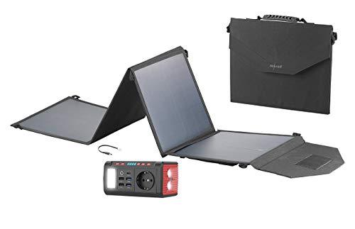 reVolt Power Akku: Mini-Powerbank & Solar-Konverter mit Falt-Solarpanel, 24 Ah, 120 Watt (Powerbank mit Solarzelle)