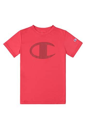 Champion Kids Clothes Boys Performance Big Logo Tech Athletic Tee Shirt (Small, Scarlet)