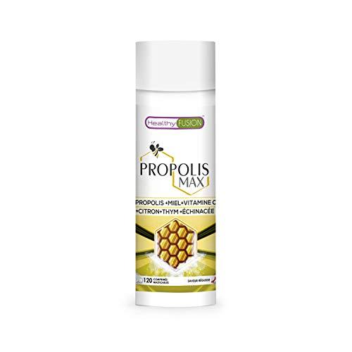 Propolis à macher au miel, à la vitamine C et au thym | Protège et augmente les défenses et le système immunitaire | Propriétés antibactériennes et antibiotiques | 120 comprimés à croquer