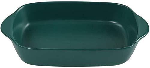 Small Ceramics Rectangular Baking Dishes with Handle for Oven Ceramic Baking Pan Lasagna Casserole Pan Individual Bakeware 9x5 inch (Dark Green)