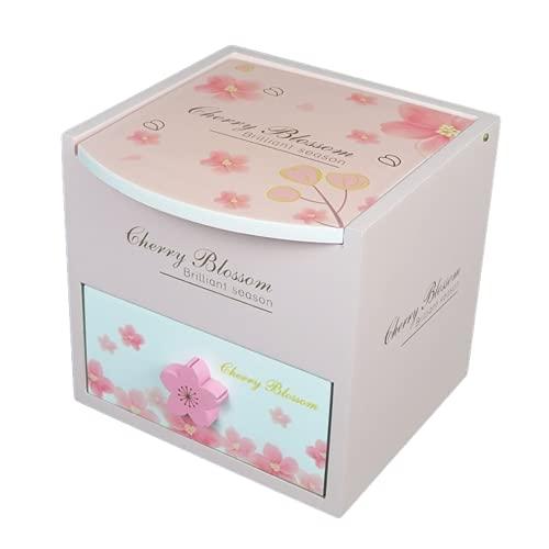 木製 子供用 アクセサリー ケース ジュエリー ボックス 女の子 鏡付き おもちゃ 宝石箱 収納 BOX 宝物 箱 (桜・小)