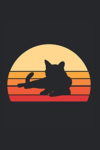 Katzen Kätzchen Vintage T-Shirt Katzendamen Shirt Geschenk: 6x9 Notizbuch