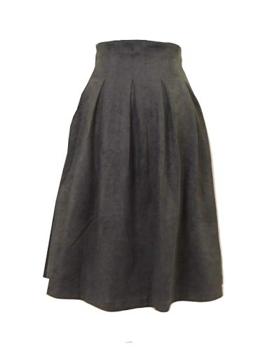 KIKI RIKI Women's Suede Midway Zipper Pleat Skirt Style 40860 Black XS