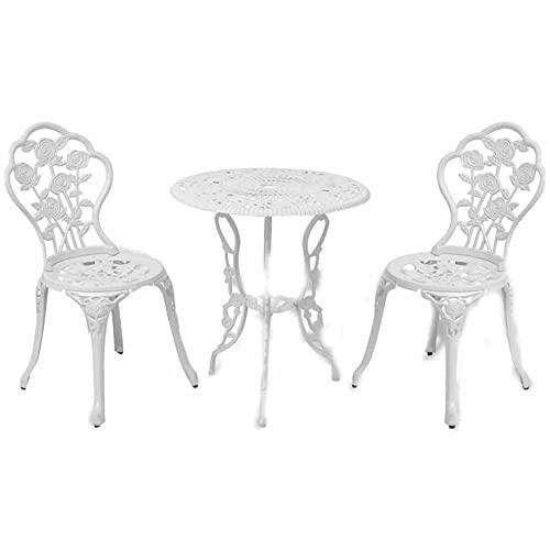 Wakects Juego de mesa de comedor de barra industrial, juego de comedor de muebles de mesa de hierro fundido de 3 piezas para jardín de piscina