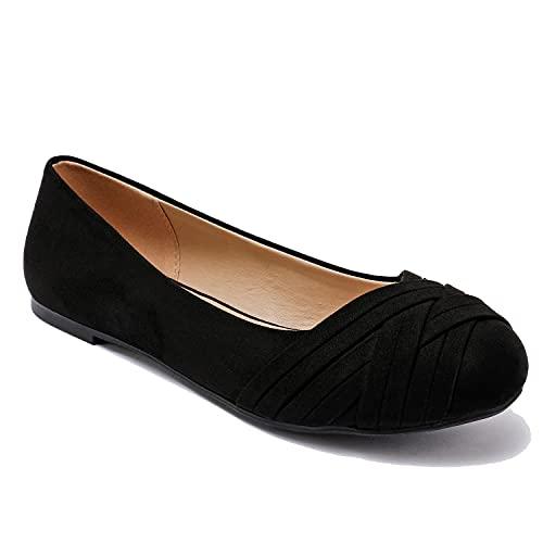 Luoika Women s Wide Width Flat Shoes - Casual Comfort Slip On Ballet Flats. Black Size 9 X-Wide 2107