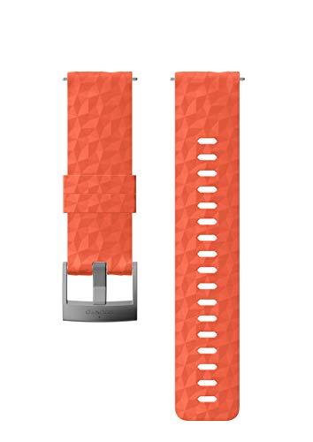 Suunto Bracelet de remplacement Original pour les Montres Suunto Spartan Sport WRH, Suunto 9, Silicone, Longueur : 22,3 cm, Largeur : 24 mm, Corail/Argent, avec Broches de fixation, SS050220000