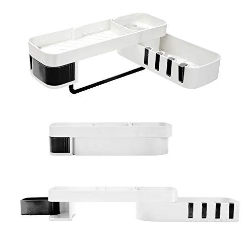 Hoomtaook Shower Shelf Rectangle Storage Organiser Bathroom Accessories Soap Box 2 Tier Black