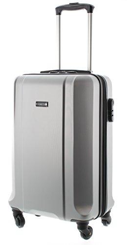 100% ABS Koffer/Trolley, Handgepäck Pianeta, Serie Boston (M (55cm), Silber)