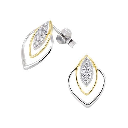 laimons–Pendientes para mujer joyería femenina Triángulo brillo flor circonita plata de ley 925