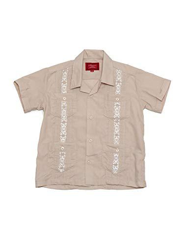 Camisa de 4 bolsos com bordado de manga curta cubano Guayabera Júnior da G-Style USA, Bege, 6