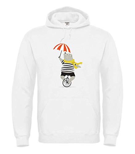Druckerlebnis24 Hoodie - Einrad Zirkus Bär Regenschirm - Kapuzenpullover Unisex für Kinder - Junge und Mädchen