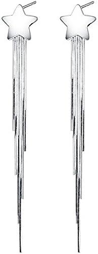 BAGEHAN 925 Silber Ohrringe Frauen Lange Sterne Quaste Nette Ohrringe Schmuck Ohrstecker, A