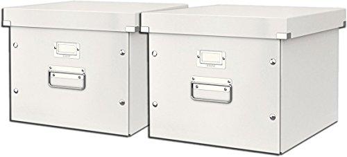 Leitz, Ablage- und Transportbox für Hängeregistratur, mit Deckel, A4, Click & Store (Weiß | 2er Pack)