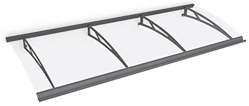 Schulte Vordach Haustür Überdachung 240x90 cm Stahl anthrazit rostfrei Polycarbonat durchgehend transparent Pultvordach Style Plus