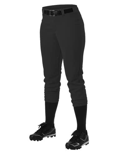 Alleson Ahtletic Women's Fast pitch Softball Belt Loop Pants, Black, Medium