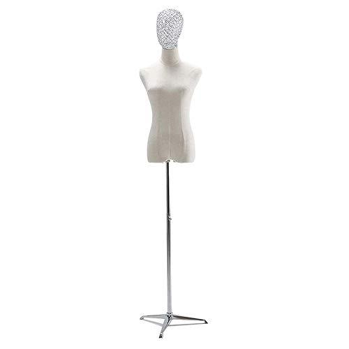 YHAIYU Weibliche Schneider Dummy Mannequin Modeschöpfern Dummies Fashion Students Anzeige Büste Torso mit Draht Kopf Metallhaltig Gebraucht,B,M