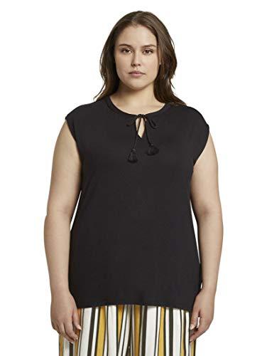 TOM TAILOR MY TRUE ME Damen Quasten T-Shirt, 14482-Deep Black, 50