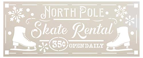 North Pole Skate Rental Stencil by StudioR12 | DIY Christmas Holiday Home Decor | Craft & Paint Wood Sign | Reusable Mylar Template | Open Cursive Script Snow Select Size (20.25 inches x 8.25 inches)