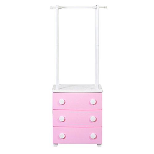 Coat Rack Hanger-Stil geschlossen Lagerschrank Kunststoff Lagerung (Farbe : Pink Cabinet with White Buckle)