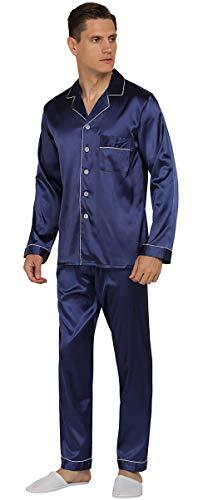 YIMANIE Mens Silk Satin Pajamas Set Classic Sleepwear Loungewear Navy