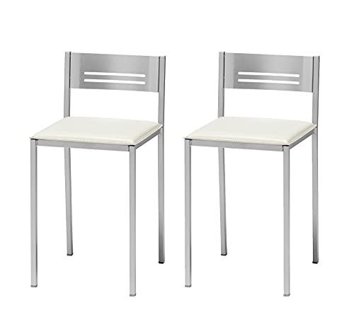 ASTIMESA Dos Taburetes de Cocina con Respaldo Polipiel Blanco, Altura de Asiento 45 cms. (TABCRBL)