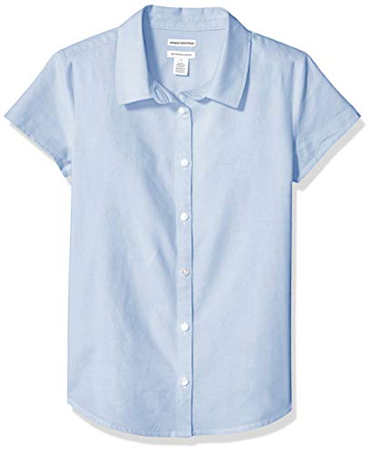 Amazon Essentials Uniform Oxford-Bluse für Mädchen, Kurzarm, Oxford Blue, US M (EU 128 CM, P)