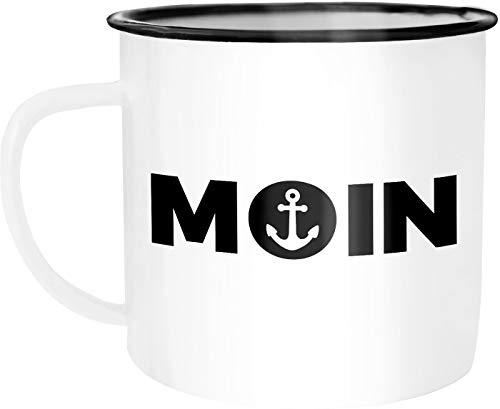 Moonworks Emaille Tasse Becher Moin Anker Kaffeetasse weiß-schwarz unisize