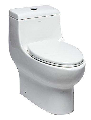 EAGO TB358 Dual Flush One Piece Elongated Ceramic Toilet, White