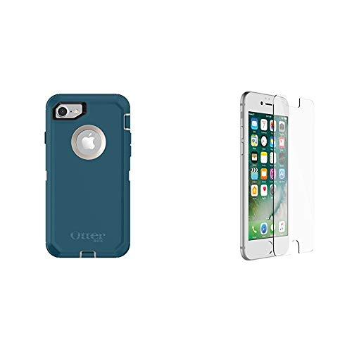 OtterBox DEFENDER SERIES Case for iPhone 8 & iPhone 7 (NOT Plus) - Retail Packaging - BIG SUR (PALE BEIGE/CORSAIR) & ALPHA GLASS SERIES Screen Protector for iPhone 6/6s/7/8 - Retail Packaging - CLEAR