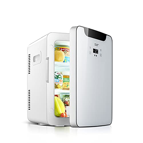 PEIHAN Mini Fridge, 20 Liter Dual-Core Refrigerator for Bedroom, Skin Care, Office, Dorm, Car, Travel, Portable Small Fridge AC/DC with Digital Display and Temperature Control