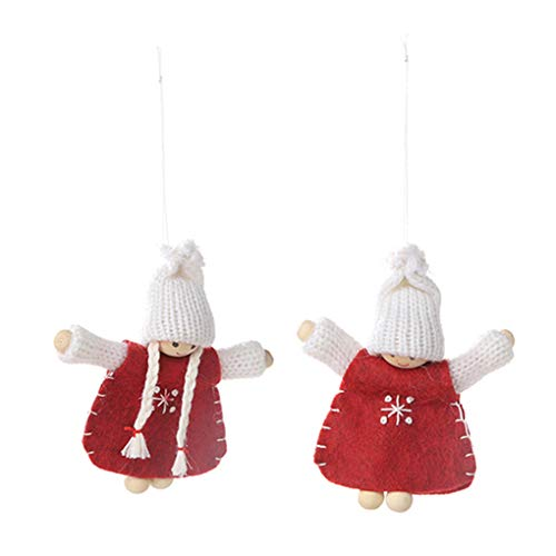rongweiwang 2pcs de Madera Pies Granos Pendientes de la muñeca de la muñeca de la marioneta de Navidad Que cuelga del Ornamento del Ministerio del Interior Decoración de Navidad Año Nuevo