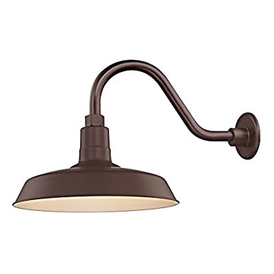 "Bronze Farmhouse Style Industrial Gooseneck Outdoor Barn Light with 14"" Shade for Wet and Damp Locations"