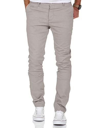 Amaci&Sons Herren Slim Fit Stretch Chino Hose Jeans 7100 Hellgrau W32/L32