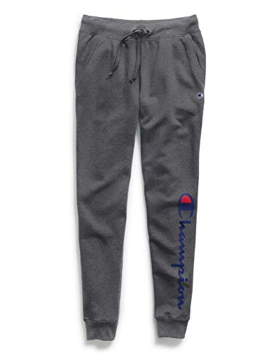 Champion Women's Powerblend Jogger, Granite Heather Graphic, Large