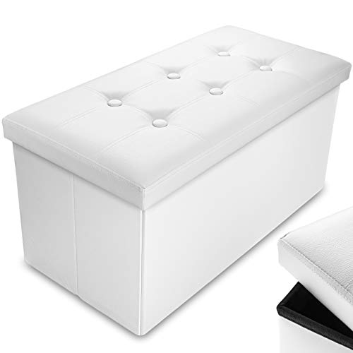 Nyxi 76 x 38 x 38 cm Faux Leather White Ottoman Foldable Storage Boxes Seat Foot Stool Storage Box with Lids for Kids Toys, Bedroom, Hallway, Living Room