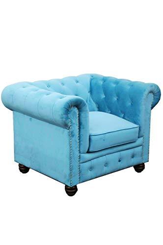 Marrakesch Orient & Mediterran Interior Moderno Chesterfield Silla de terciopelo azul 105 cm grande | Sillón de tela para su salón | Silla de salón de diseño en color azul