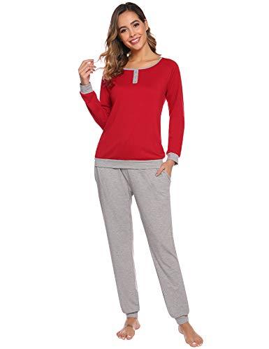 Abollria Pijama para Mujer 2 Piezas Conjuntos Camiseta y Pantalones Ropa de Casa Mujer (L, Rojo)