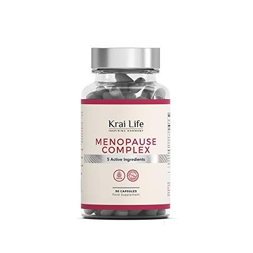 KL Menopausia Capsulas | 90 Capsulas Veganas | 5 Ingredientes Activos: Vitex Agnus Castus, Hoja de Salvia, Lupulo, Trebol Rojo y Cohosh Negro | Para la Salud de las Mujeres | Sin Gluten, OGM o Lacteos