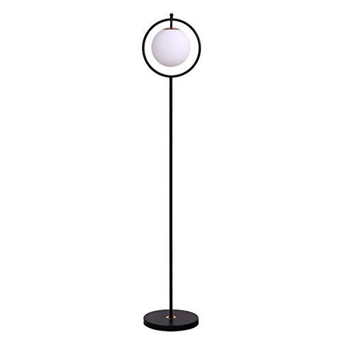 Lampe sur pied Vertical Lámpara de pie Iluminación for el hogar decoración de la sala de estar del sofá del dormitorio caliente LED de la lámpara de cabecera Ronda pantalla de cristal Negro,Lampes su