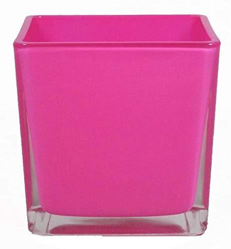 INNA-Glas Lot 3 x Pot de Fleurs Levi, Cube - carré, Rose Fuchsia, 12x12x12cm - Bougeoir en Verre - Photophore Cube
