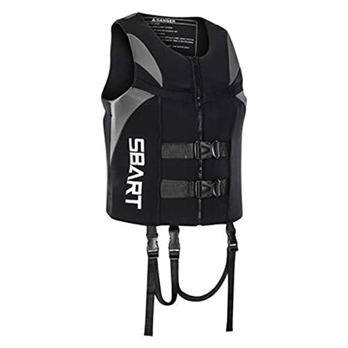 AWDG Chaleco Salvavidas para Adultos, Chaleco de natación Chaqueta de Ayuda de la flotabilidad con Correa de Seguridad Ajustable para la Pesca de navegación navegando en Black Gray-XL