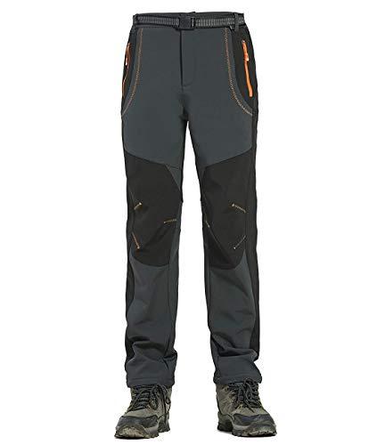 Alleza Pantalones Senderismo Impermeables Hombres Soft Shell de Acampada Esquí Ciclismo con Forro Fleece