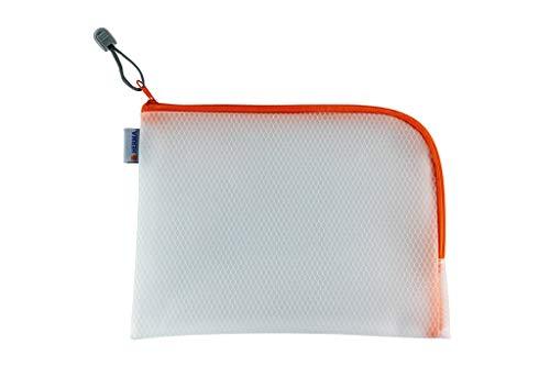 HERMA 20012 Bolso de tocador con cremallera A5, transparente (26 x 20 cm) estuche pequeño de viaje con cremallera para cosméticos, líquidos, maquillaje, cepillo de dientes, neceser en naranja