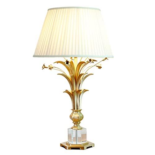 Lámpara Escritorio Lámpara de mesa ramo de cristal de cobre lámpara de mesa sala de estar dormitorio decoración de la noche lámpara aprendizaje estudio interruptor encendedor lámpara de lectura Lámpar