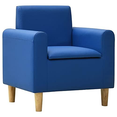 vidaXL Sofá Infantil Niños Sillón Asiento Silla Salón Sala de Estar Dormitorio Habitación Muebles Mobiliario Cómodo de Cuero Sintético Azul