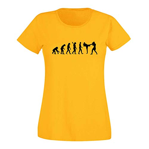 T-Shirt Evolution Kickboxen Kampfsport Karate Boxen MMA 15 Farben Damen XS - 3XL Kampfkunst Muay Thai Jiu Jitsu Taekwondo Cage-Fight, Größe:M, Farbe:gelb - Logo schwarz